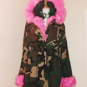 HOLD—-Faux Fur Camo Print Military Winter Jacket